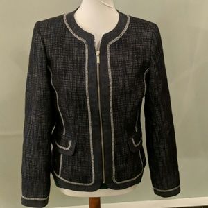 Dark blue tweed zip up blazer